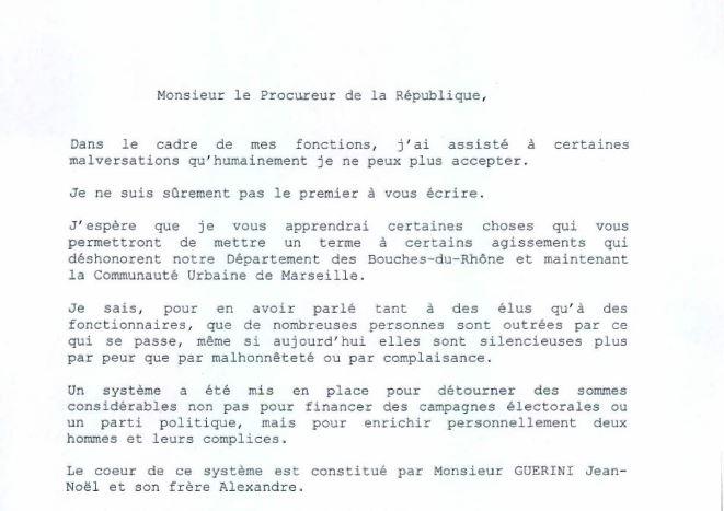 Un extrait de la lettre anonyme reçue le 9 février 2009 par le procureur Dallest. L'affaire démarre.